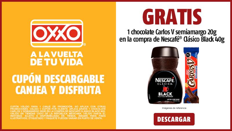 Cupon P10 2021 Gratis 1 Chocolate Carlos V Semiamargo 20gr en la compra de Nescafé Clásico Black 40g