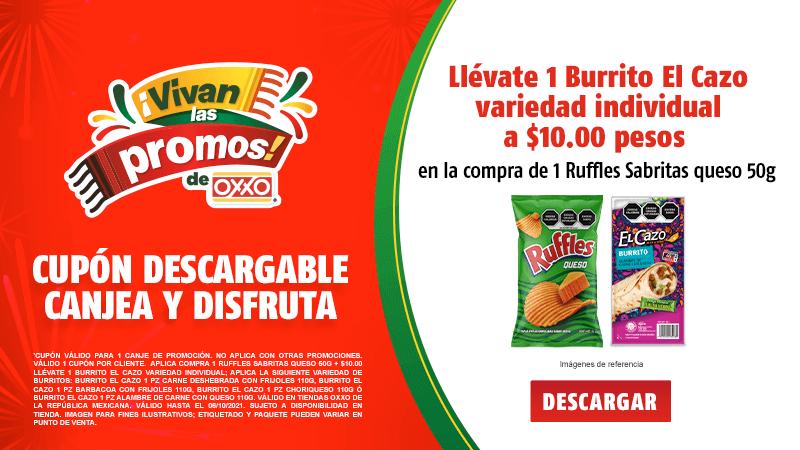 Cupon P10 2021 Compra 1 Ruffles Sabritas Queso 50g más 10.00 llévate 1 Burrito El Cazo variedad individual