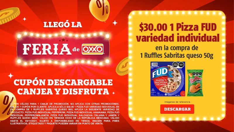 Cupon P11 A sólo $30.00 1 Pizza FUD variedad individual en la compra de 1 Ruffles Sabritas Queso 50g