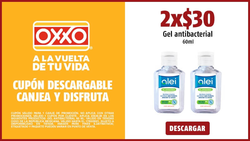 Cupon 2x$30.00 Gel antibacterial 60 ml.