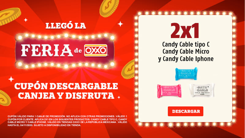 Cupon Candy Cable Feria OXXO