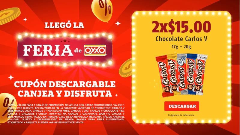 Cupon P11 2021 2x$15.00 Chocolate Carlos V 17-20gr