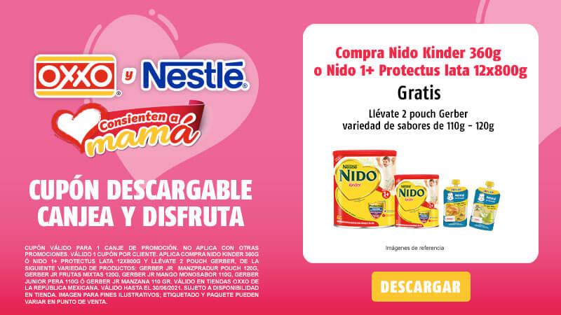 Cupon Compra Nido Kinder 360g ó NIDO 1+ PROTECTUS Lata 12x800g y llévate 2 pouch Gerber 110-120 grs variedad de sabores