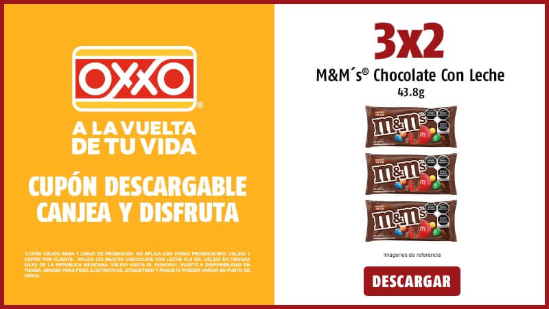 Cupon 3x2 MMs Chocolate Con Leche 43.8 gr