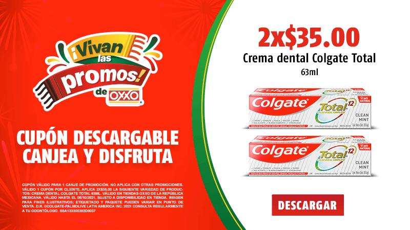 Cupon P10 2021 2x$35.00 Crema Dental Colgate Total 63ml