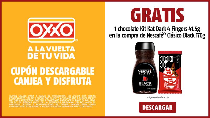 Cupon P10 2021 Gratis 1 Chocolate KIT KAT Dark 4 Fingers 41.5gr en la compra de Nescafé Clásico Black 170g