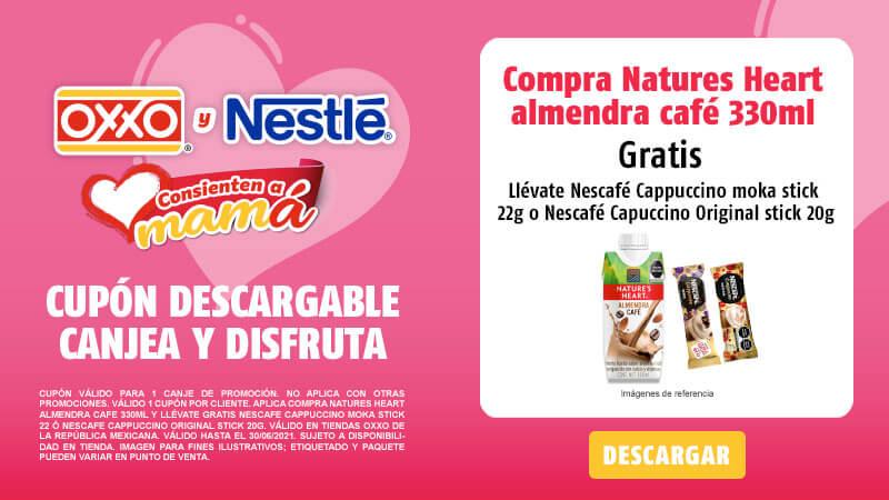 Cupon Compra NATURES HEART ALMENDRA CAFE 330ML y llévate gratis NESCAFE CAPPUCCINO MOKA STICK 22 ó NESCAFE CAPPUCCINO Original Stick 20g