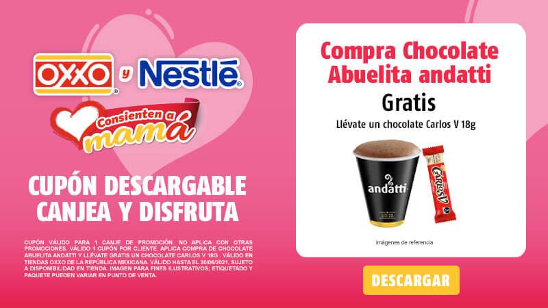Cupon Compra de Chocolate Abuelita andatti y llévate gratis un Chocolate Carlos V 18g
