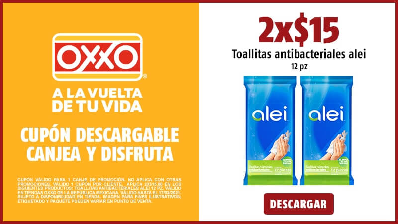 Cupon 2x$15.00 Toallitas antibacteriales ALEI 12 pz.