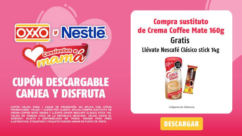 Cupon Compra Sustituto de crema Coffee Mate 160grs y llévate gratis Nescafé Clásico Stick 14g