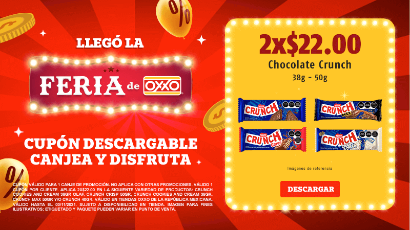 Cupon P11 2021 2x$22.00 Chocolate Crunch 38-50gr
