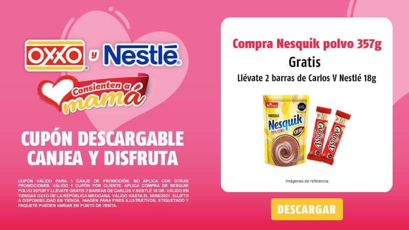 Cupon Compra de Nesquik Polvo 357gr y llévate gratis 2 Barras de Carlos V Nestlé 18 gr