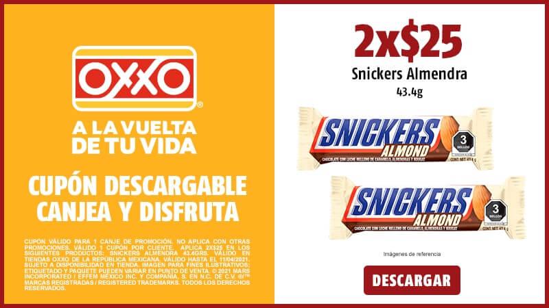 Cupon 2x$25 Snickers Almendra 43.4 g.