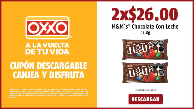 Cupon 2x26 MMs Chocolate Con Leche 43.8 gr