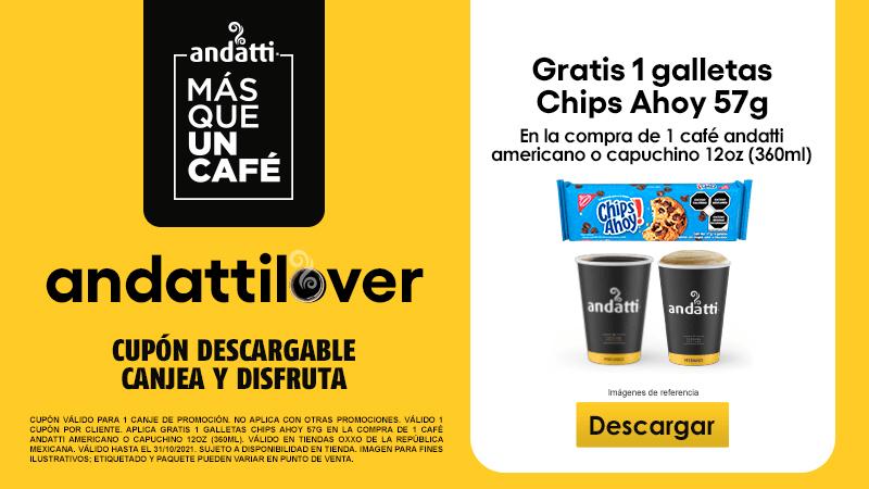 Cupon P10 2021 GRATIS 1 Galletas Chips Ahoy 57g en la compra de 1 Café andatti americano o capuchino 12Oz