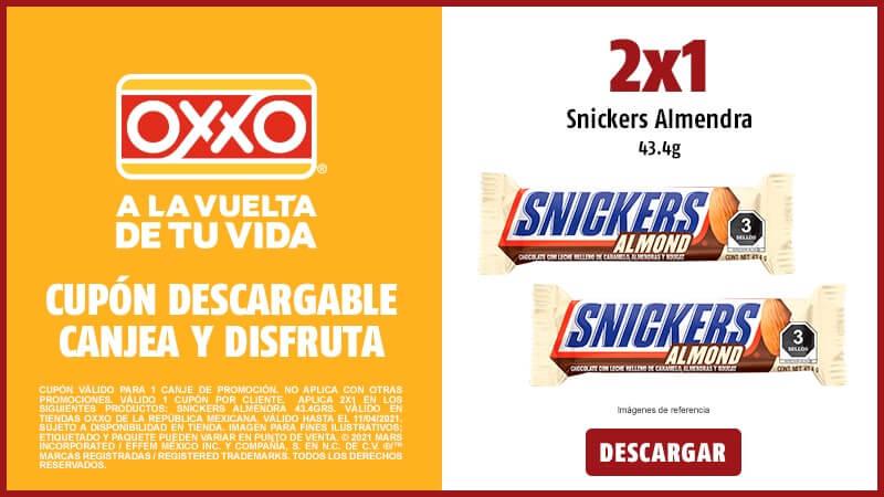 Cupon 2x1 en Snickers Almendra 43.4 g.