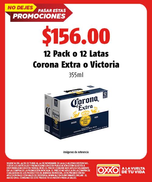 12 Pack o 12 Latas Corona Extra o Victoria