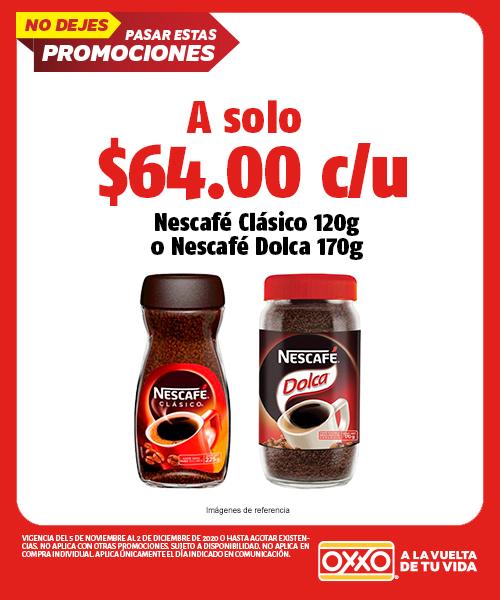 Nescafe Clasico 120gr o Nescafe Dolca 170 gr