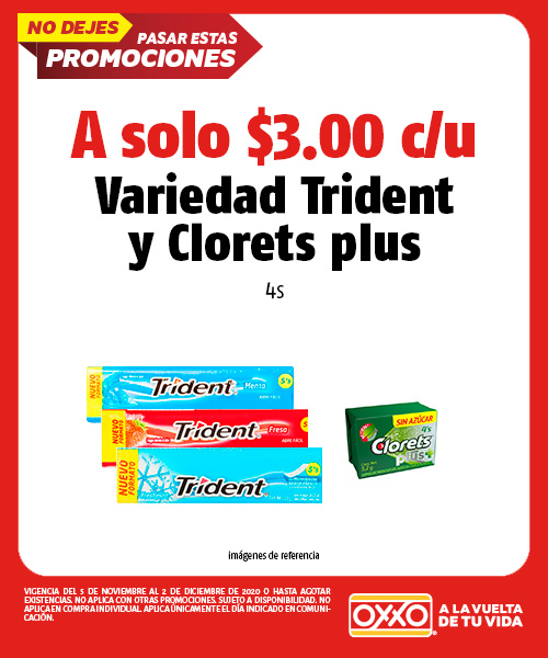 Variedad Trident y Clorets Plus 4s