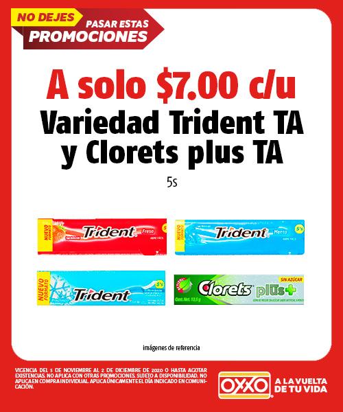 Variedad Trident TA y Clorets Plus TA 5s