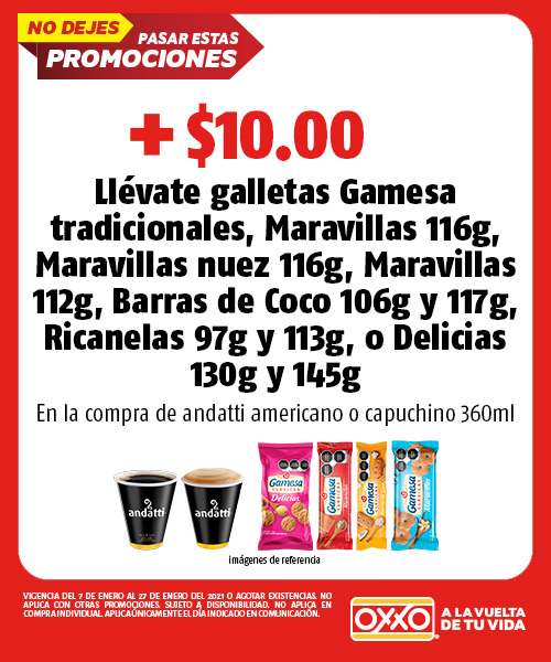 andatti americano o capuchino 360 ml + $10.00 llevate galletas gamesa tradiciones