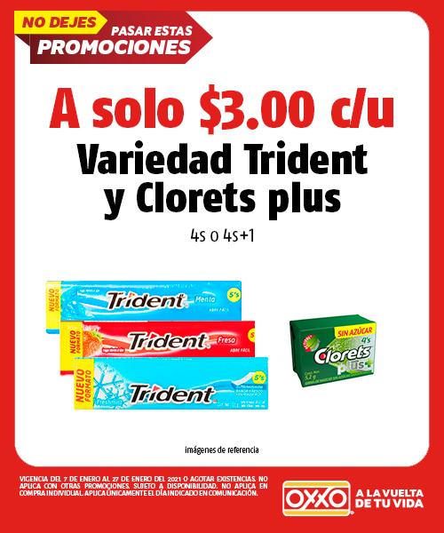 Variedad Trident y Clorets Plus 4s o 4s+1