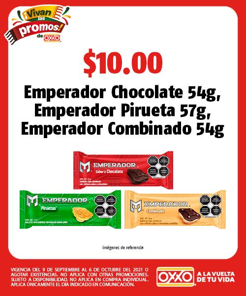 Galletas Emperador Chocolate 54g, Emperador Pirueta 57g, Emperador Combinado 54g