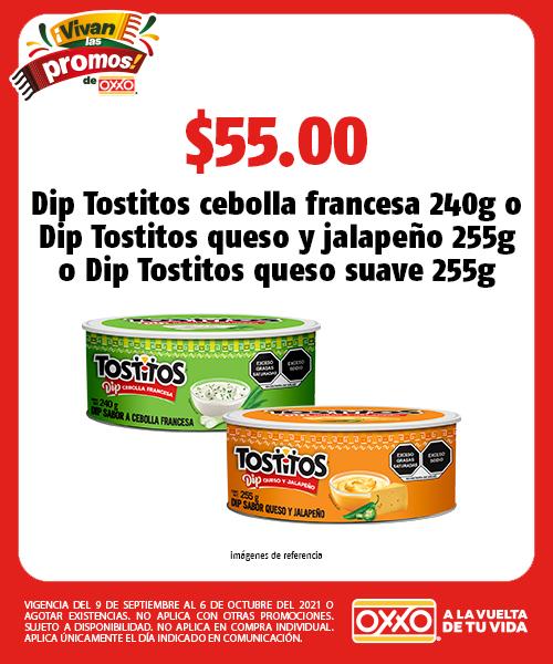 Dip Tostitos cebolla francesa 240g o Dip Tostitos queso y jalapeño 255g o Dip Tostitos queso suave 255g