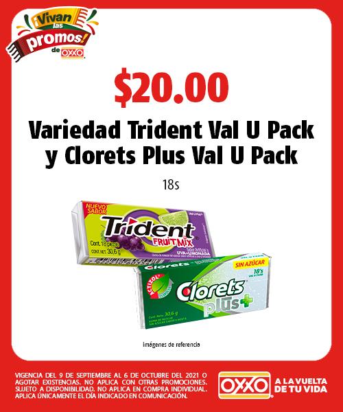 Variedad Trident Val U Pack y Clorets Plus Val U Pack