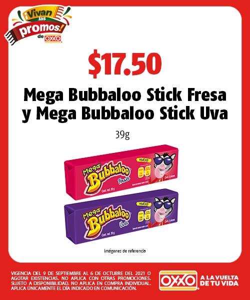 Mega Bubbaloo Stick Fresa y Mega Bubbaloo Stick Uva