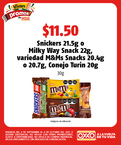 Snickers 21.5g o Milky Way Snack 22g, variedad M&Ms Snacks 20.4g o 20.7g, Conejo Turín 20g