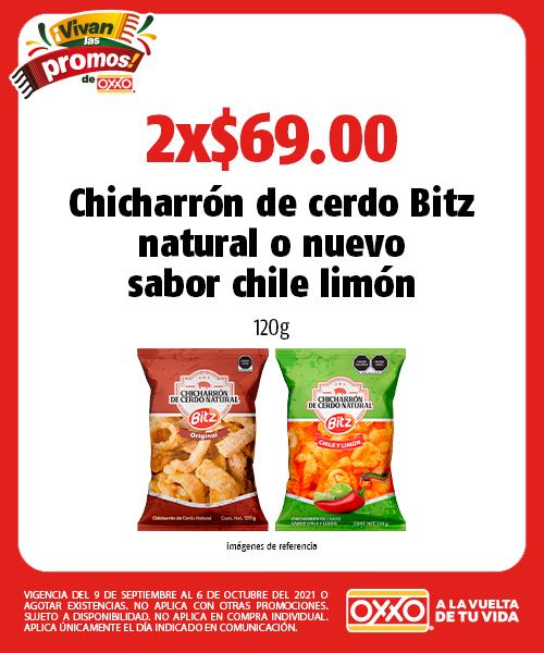 Chicharrón de cerdo Bitz natural o nuevo sabor chile limón