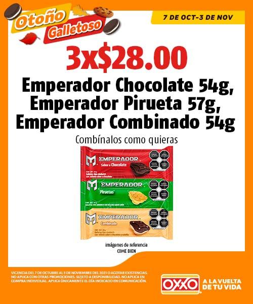 Emperador Chocolate 54g, Emperador Pirueta 57g, Emperador Combinado 54g