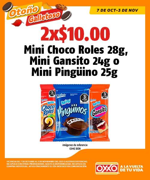 Mini Choco Roles 28g, Mini Gansito 24g o Mini Pinguino 25g.