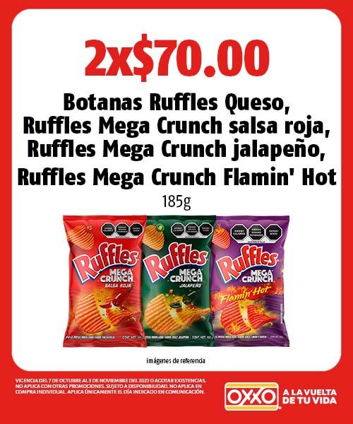 Botanas Ruffles Queso, Ruffles Mega Crunch salsa roja, Ruffles Mega Crunch jalapeno, Ruffles Mega Crunch Flamin Hot