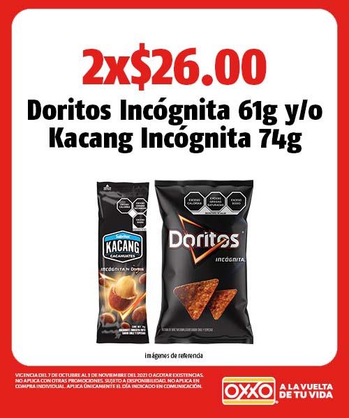 Doritos Incógnita 61g o Kacang Incógnita 74g