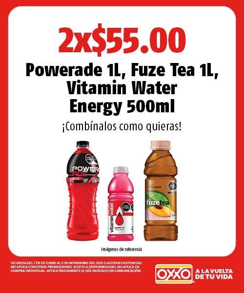 Powerade 1L, Fuze Tea 1L, Vitamin Water Energy 500ml