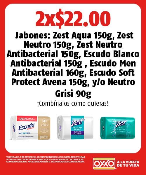 Jabones Zest Aqua, Neutro, Zest Neutro Antibacterial, Escudo Blanco Antibacterial,  Men Antibacterial , Soft Protect Avena o Neutro Grisi