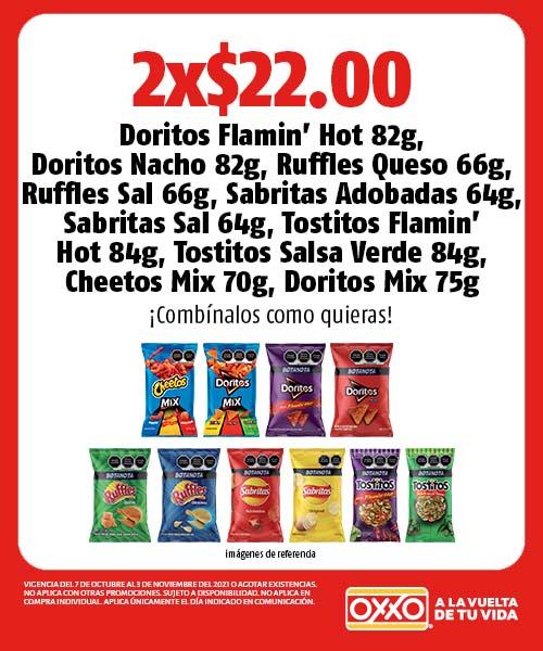 Doritos Flamin Hot, Nacho, Ruffles Queso, Sal, Sabritas Adobadas Sal, Tostitos Flamin Hot , Salsa Verde, Cheetos Mix