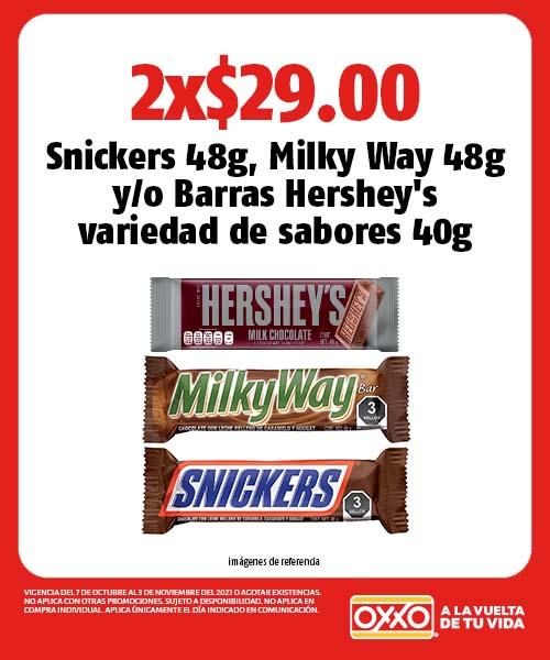 Snickers 48g, Milky Way 48g o Barras Hersheys variedad de sabores 40g