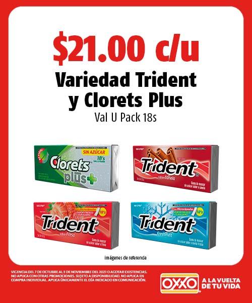 Variedad Trident y Clorets Plus