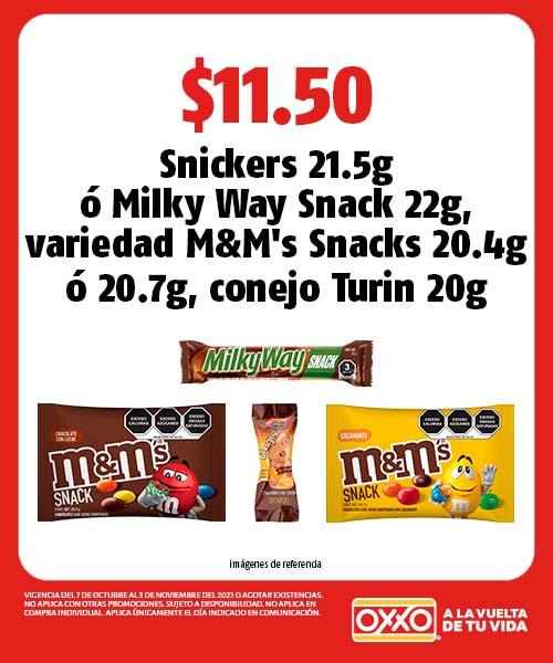 Snickers 21.5g o Milky Way Snack 22g, variedad M&Ms Snacks 20.4g o 20.7g, conejo Turin 20g