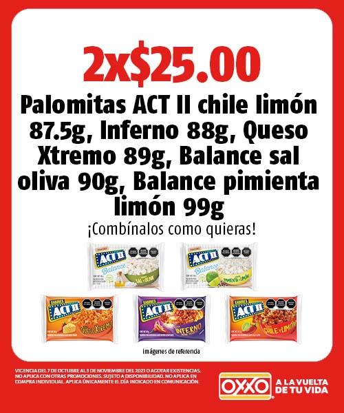 Palomitas ACT II chile limón, Inferno, Queso Xtremo, Balance sal oliva, Balance pimienta limón
