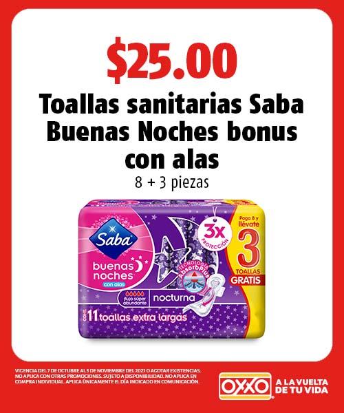 Toallas sanitarias Saba Buenas Noches bonus con alas