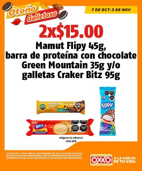 Mamut Flipy 45g, barra de proteína con chocolate Green Mountain 35g o galletas Craker Bitz 95g