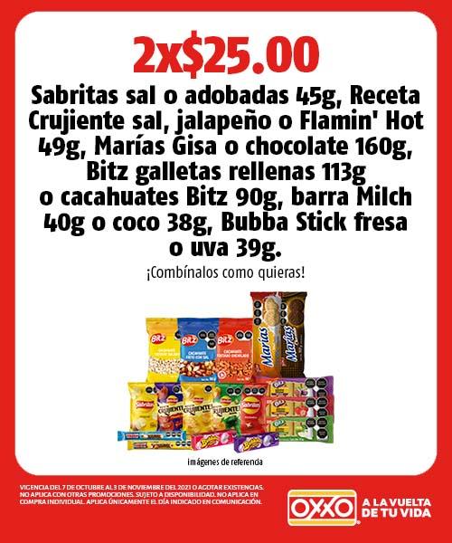 Sabritas sal, adobadas, jalapeño, Flamin Hot, Marías Gisa, chocolate, Bitz, Milch, Bubba Stick Fresa o Uva
