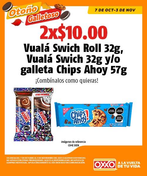 Vualá Swich Roll 32g, Vualá Swich 32g o galleta Chips Ahoy 57g