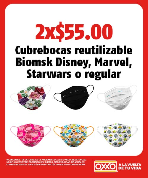 Cubrebocas reutilizable Biomsk Disney, Marvel, Starwars o regular