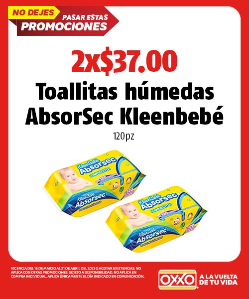 Toallitas Húmedas AbsorSec Kleenbebé
