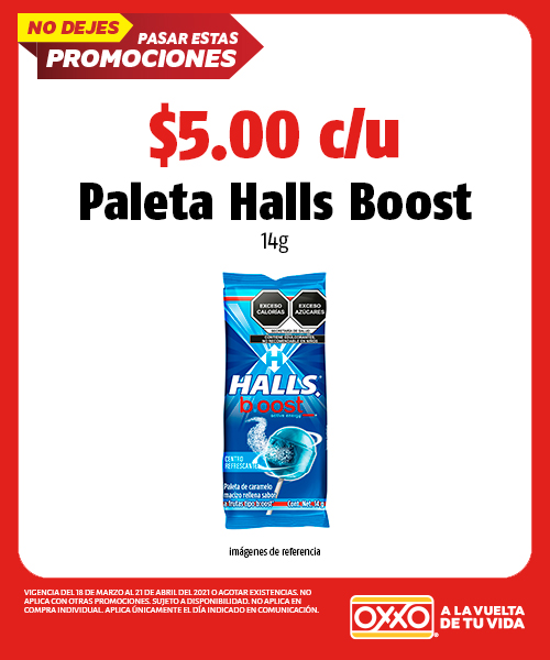 Paleta Halls Boost 14 gr